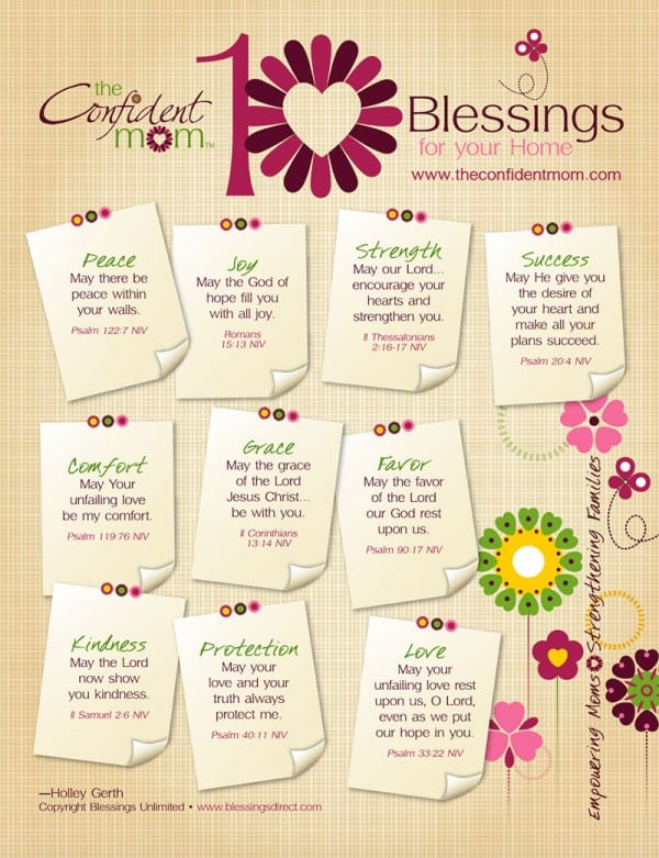 10 Blessings for Your Home FREE Printable