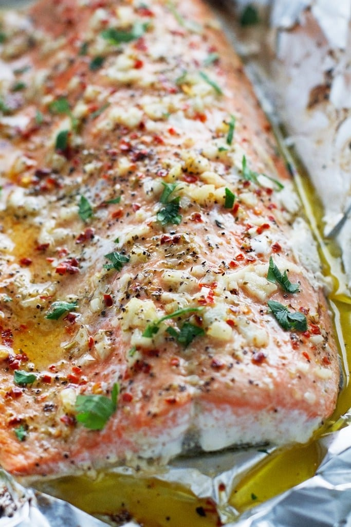 Garlic Butter Baked Salmon in Foil via Little Spice Jar