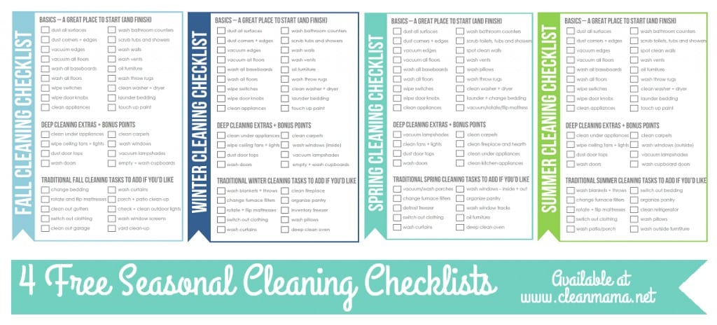 4 FREE Seasonal Cleaning Checklists