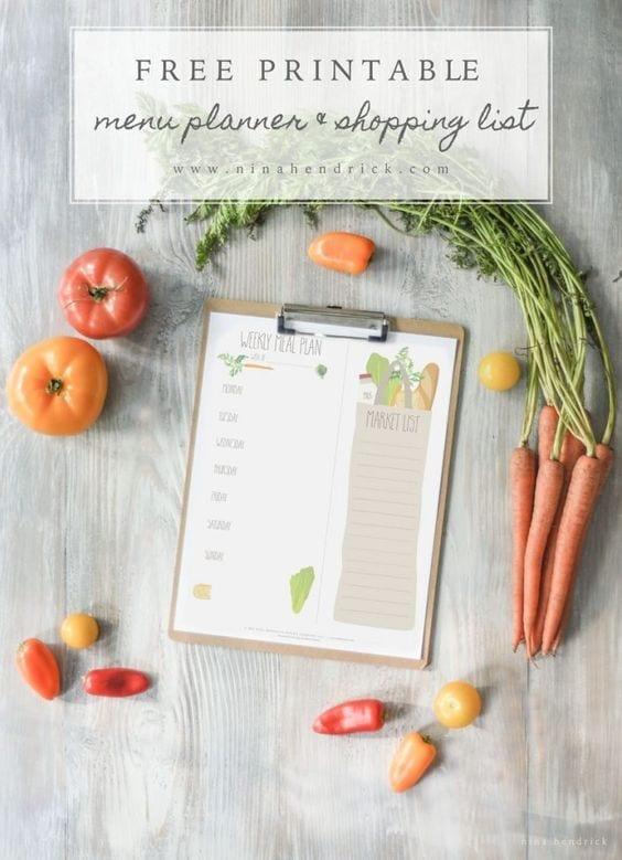 FREE Printable Menu Planner & Shopping List