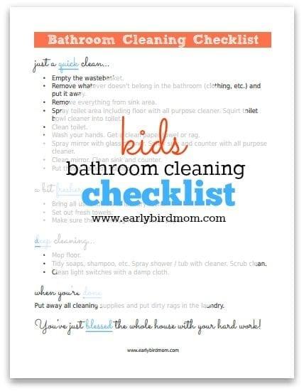 Kids' Bathroom Cleaning Checklist