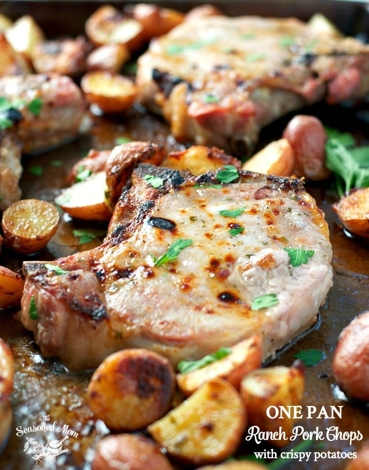 One Pan Ranch Pork Chops with Crispy Potatoes