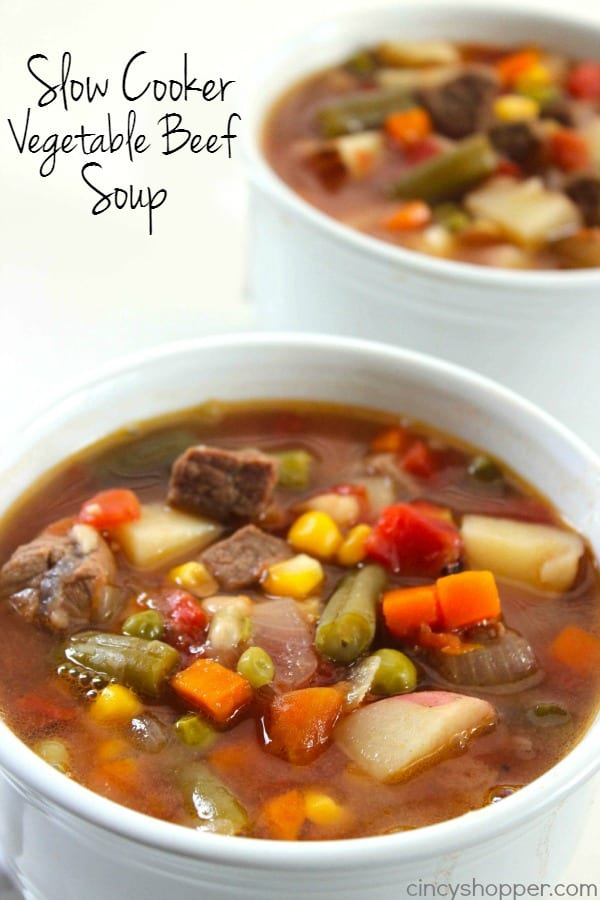 Slow Cooker Vegetable Beef Soup via CincyShopper