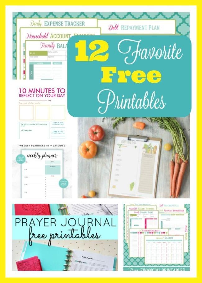 My Top 12 Favorite FREE Printables